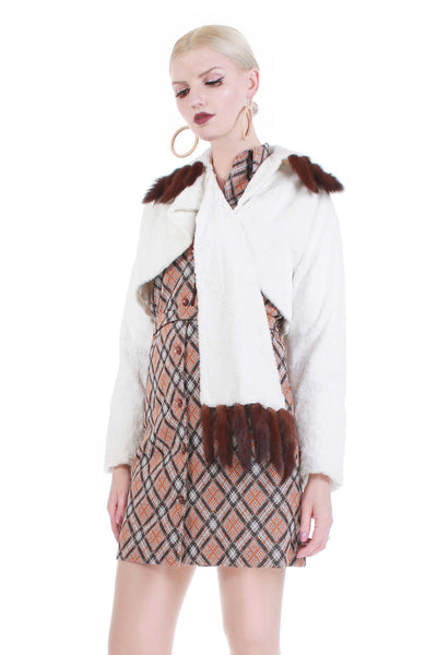 60s Mink Tail Faux Fur Cropped Jacket White and Brown Women's Size Small