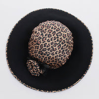 "80s Vintage Animal Print and Black Felt Wool Wide Brim Blossom Ladies Hat Size Medium Large Regular...approx 22-23"" circumference"