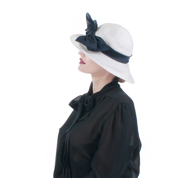 "Vintage NORDSTROM Italy White Wide Brim Hat with Black Bow...approx 22.5"" interior circ"