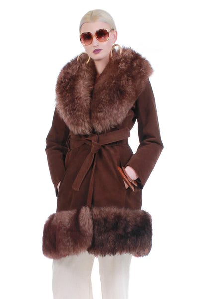 Vintage Shearling and Suede Brown Princess Jacket Penny Lane Coat