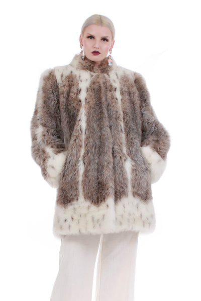 80s Spotted Lynx Faux Fur Coat
