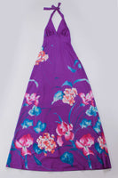 "70s Tropical Halter Maxi Dress Purple Pink Soft Poly Jersey Smocked Royal Palm Hawaii Womens Size Small...26-36"" bust...24-35"" waist"