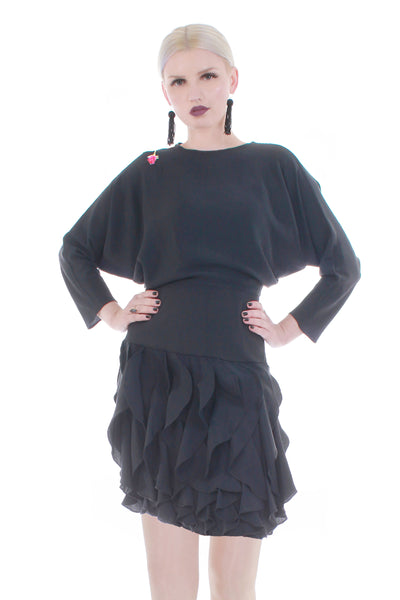 80s Ruffled Batwing Silky Black Rayon Drop Waist Dress with Embroidered Rose Made in the USA