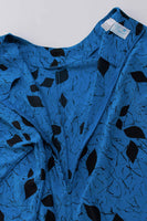"80s Abstract Batwing Silk Blue Black Caftan Sack Dress LORAC Made in the USA Women Size Large / XL / 62"" bust / 50"" waist / 46"" hips"