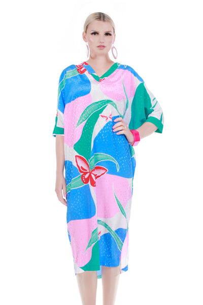 80s Pastel Floral Butterfly Silky Poly Blue Pink Batwing Loose Caftan Lounge Dress