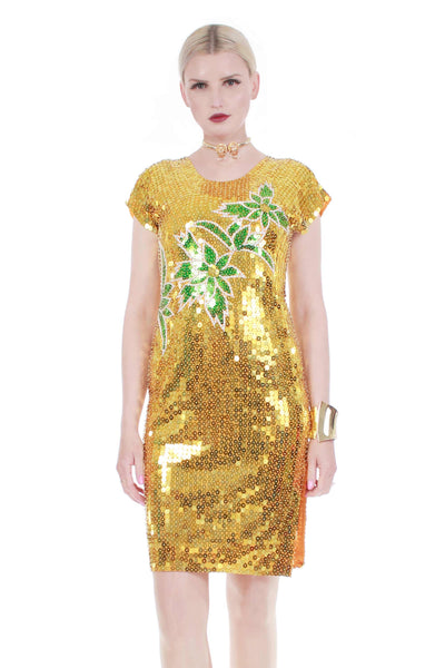 80s Vtg PALM Gold Metallic and Green Sequin Beaded Wiggle Dress Womens Size small
