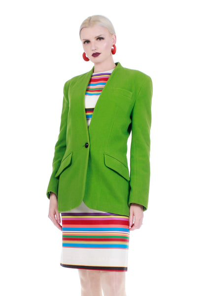 80s Lime Green Wool Blazer Jacket by Jones New York Women Size Small