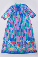 "Colorful Vintage Caftan Maxi Lounge Dress MuuMuu Blue Pink Yellow Green Soft Poly Womens Size Large...XL...42"" bust...50"" waist...55"" long"