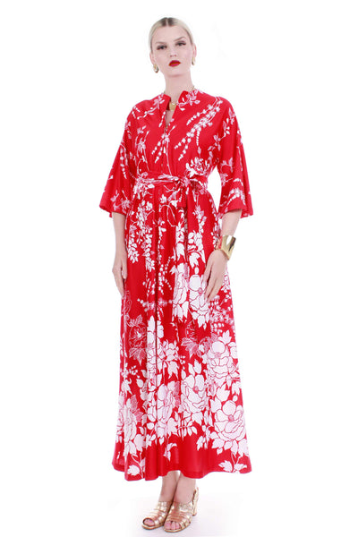 60s 70s Tropical Floral Red White Soft Polyester Loungewear Robe MuuMuu Bell Sleeve Caftan Dress Size Medium