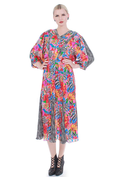 80s MAYEELOK France Wildly Colorful Abstract Mixed Print Semi Sheer Georgette Puff Sleeve Dress