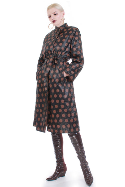 70s Shiny Polka Dot Raincoat Belted Trench Black Brown Coat Naman Raincheetahs