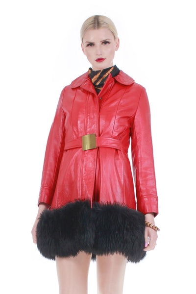 60s Red Leather Shearling Belted Mod Boho Princess Jacket Winter Princess Coat
