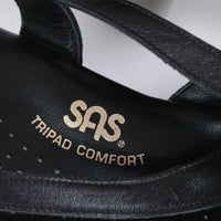 Vintage SAS Tripad Comfort Black Leather Cushion Strappy Wedge Sandals Made in the USA Women's Size US 10 / Uk 7.5 / Eur 40-41