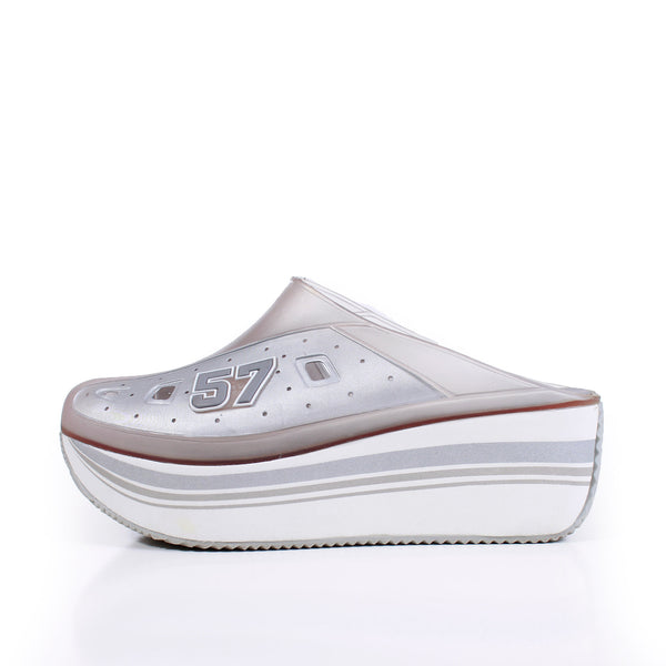 90s Platform Transparent Silver Gray White Platform Mule Slip On Shoes Women's Size US 8 / UK 6 / EUR 39
