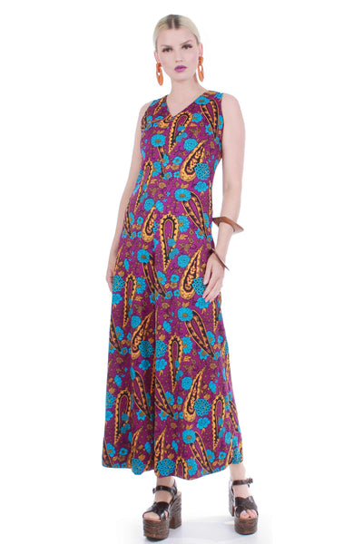 60 Psychedelic Palazzo Jumpsuit Wide Leg Purple Blue Paisley Floral Vintage Mod Hippie Women's Size Medium