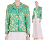 "Vintage Green Brocade Noviello BLOOM Shiny Gold Turquoise Floral Jacket Made in the USA Women's Size Medium / 44"" bust / 40"" waist"