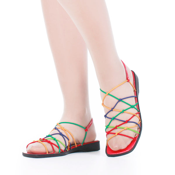 80s Rainbow Elastic Strappy Short Wedge Sandals Women's Size US 6.5 / UK 4.5 / Eur 37