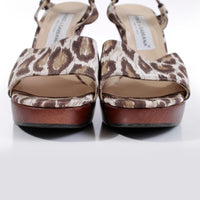 90s DOLCE & GABBANA Wood Platform Leopard Print Canvas Sandals Sky High Heel Made in Italy Womens Size 40 eur / 10 us / 7 uk