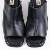 90s Block Heel Black Leather Mules Women's Size US 7 / UK 5 / Eur 39