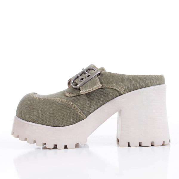 90s Platform Olive Green CANVAS Chunky White Rubber High Block Heel Mules Clogs Shoes Women Size 8 USA