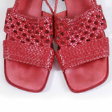 Vtg SESTO Meucci Red Leather Woven Block Heek Slingback Sandals Made in Italy Women's Size US 8.5 / UK 6.5 / Eur 39