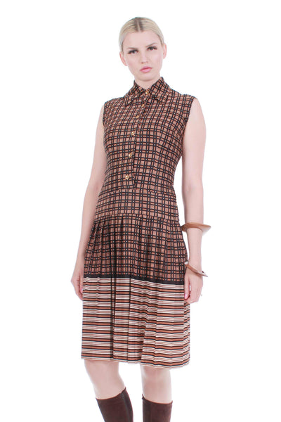 60s Mod SAKS Fifth Avenue Brown Geo Mix Patterned Pleated Sleeveless Collared Scooter Dress Womens Size XS -Small