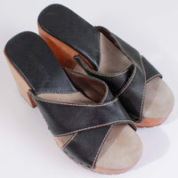 90s CANDIES Platform Wood Chunky Block Heel Black Leather Mule Sandals Size US 8.5 / US 6.5 / 38.5-39
