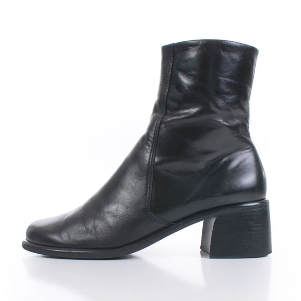 90s Minimal Black Leather Block Heel Above Ankle Boots Made in Brazil Women's USA Size 10