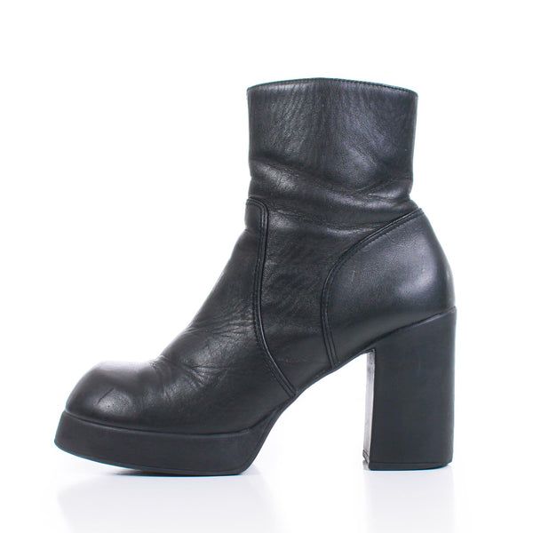 90s STEVE MADDEN Platform Black Leather Chunky Heel Ankle Boots Women's Size 8 USA