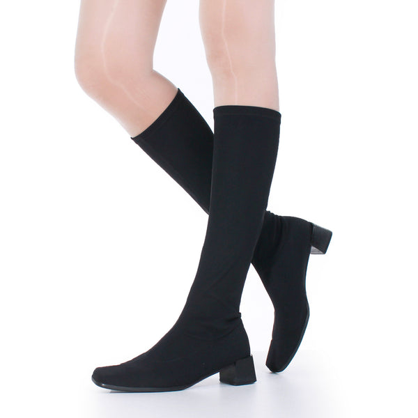 90s Austrian PAUL GREEN Black Stretch Neoprene Tall Square Toe Block Heel Boots Womens Size 8 - 8.5 USA / 6.5 Uk