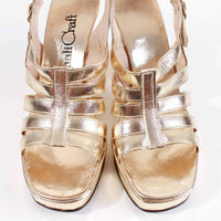 60s 70s Platform Gold Metallic Faux Leather High Block Heel Cage Sandals Womens Size 6.5 AA Narrow USA