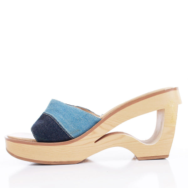 90s Denim PATCHWORK Cutout Faux Wood Platform Wedge Heel Mule Sandals Women's Size 7 USA