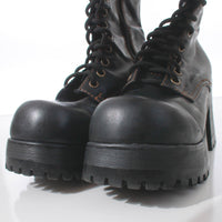 90s Platform LEI Black Lace Up Nearly Knee High GOTH Grunge Faux Leather Chunky Boots Women's Size 8.5 - 9 USA (sold as-is, see description)