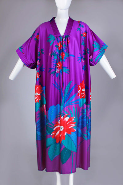 Vtg TROPICAL Caftan Kimono Sleeve Soft and Stretchy Poly Purple Floral Muu Muu Maxi Dress Loungewear Size XL - 1X