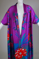 "Vtg TROPICAL Caftan Kimono Sleeve Soft and Stretchy Poly Purple Floral Muu Muu Maxi Dress Loungewear Size XL - 1X - 2X - 52"" bust"