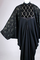 70s Avant Garde Caftan Black Drape Batwing Kimono Maxi Dress Women's One Size Fits All