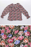 "Vtg Ruffle Floral Peasant Top Billowy Sleeves Lightweight Silky Romantic Boho Women's size Medium - Large - 43"" bust - 39"" waist"