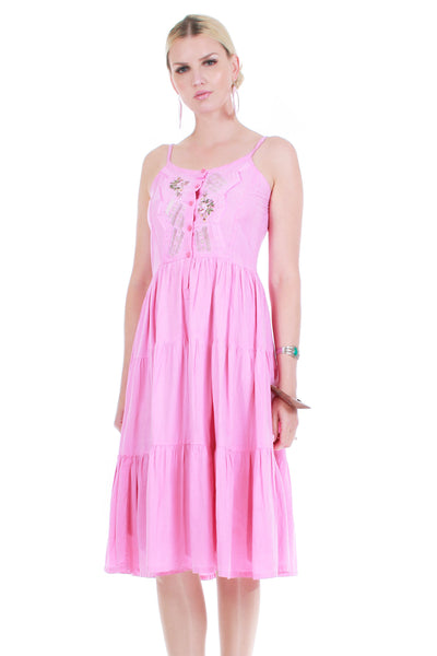 Vintage Pink Cotton Embroidered Multi Tiered Peasant Fit and Flare Dress Sundress Women's Size Small