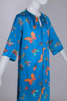 "60s Silky Nylon BUTTERFLY Novelty Print Colorful Blue Vanity Fair Dressing Gown Caftan Loungewear WFH Women's Size Large 42"" bust - 44""waist"