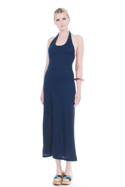 70s Navy KNIT Plunge Halter Maxi Lounge Dress Everyday Minimalist Basic WFH Women's Size Small