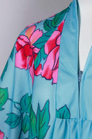 "Blue Pink Floral Muu Muu Caftan Maxi House Dress Soft and Stretchy Poly with Wide Sleeves Women's Size Large - 40"" bust - 44"" waist - 52""hip"