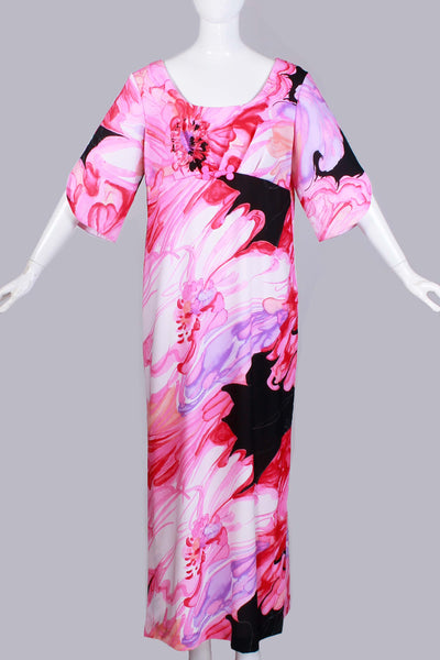 "1960s MALIHINI Hawaii Pink Watercolor Swirl Vintage Maxi Dress Empire Bell Sleeve Size LARGE - XL - 42"" bust - 41"" waist - 46"" hips"