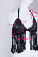 80s Black LEATHER Fringe Triangle Halter Top Size Small - Medium