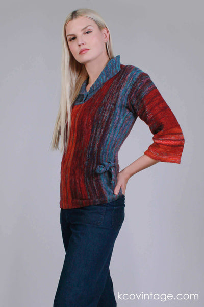 "60s 70s ARPEJA Organically Grown Red and Blue SPACE Dyed Knit Pullover Sweater Women's Size Small / 32-36"" bust / 30-32"" waist"