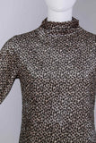 "90s Leopard Velvet Mockneck Dress Women's Size Small  - Medium 36"" bust - 32"" waist - 36"" hips"