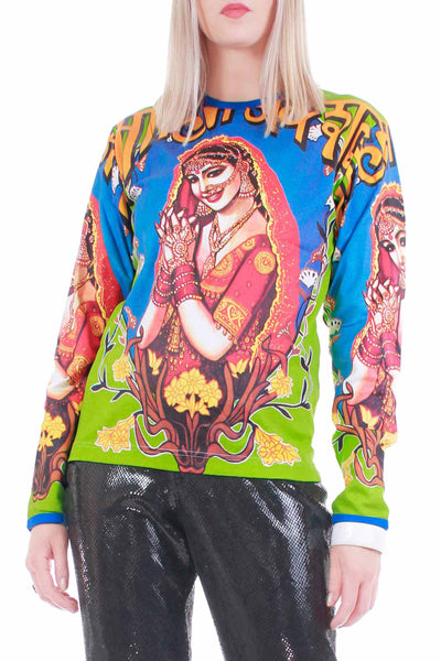 "90s Y2K HINDU Praying GODDESS Print Long Sleeve Top DEADSTOCK w tags Unisex Size Medium - Large - 38"" bust - 38"" waist"