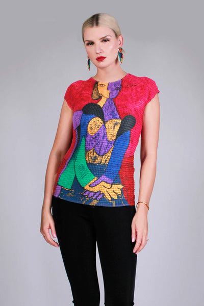 Y2K PICASSO Art Print Crinkle Stretchy Cap Sleeve Top Women's Size Medium +