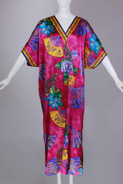 80s Shiny ASIAN FAN Fuchsia Pink Purple Gold Floral Caftan Maxi Dress Loungewear Work From Home Style One Size Fits Most Vintage Dress