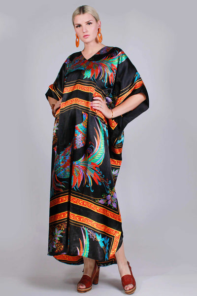 Silky PEACOCK Caftan Maxi Dress Colorful Black Novelty Bird Print Loungewear WFH Style Women One Size Fits All