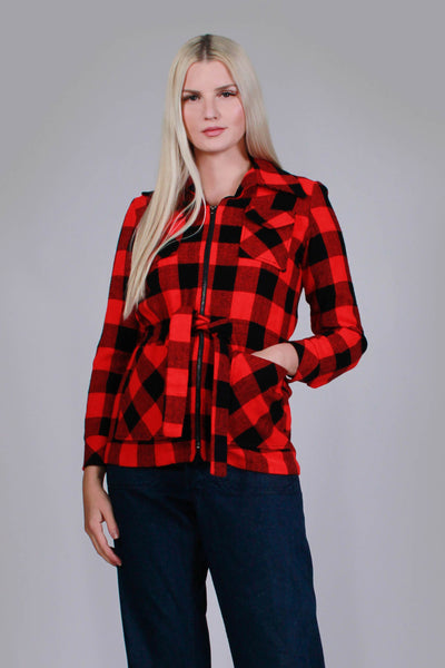 "70s Buffalo Check Red and Black Plaid Acrylic Lightweight Jacket Sears Bazaar Women's Size Small Medium Petite - 37"" bust - 29"" waist"